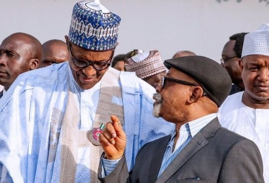 President Muhammadu Buhari (left) with the Minister of Labour, Chris Ngige (right) [BBC]