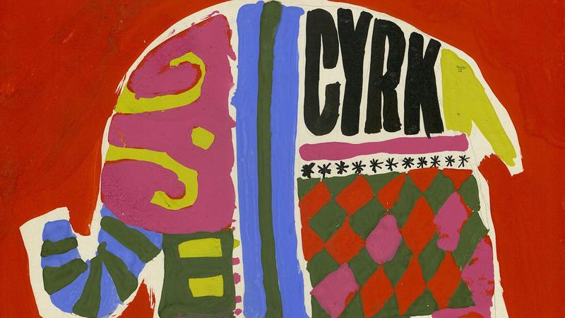 Cyrk (szkic do plakatu), 1965, tempera, 42 x 29,8 cm , MNP Plg 674  kopia