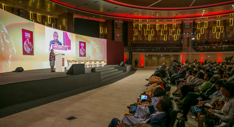 Kenya's First Lady, Margaret Kenyatta, speaking at the high-level segment of the ongoing 2019 Global Gender Summit in Kigali. (courtesy)