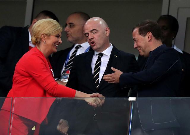 Kolinda Grabar Kritarović, prvi čovek FIFA Đani Infantino i Dimitrij Medvedev