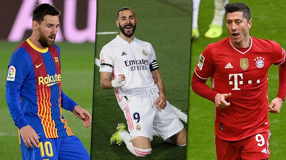 Lionel Messi, Karim Benzema i Robert Lewandowski