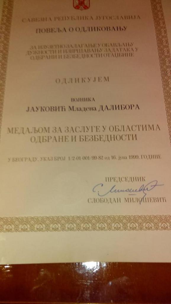 Odlikovanje Dalibora Jaukovića