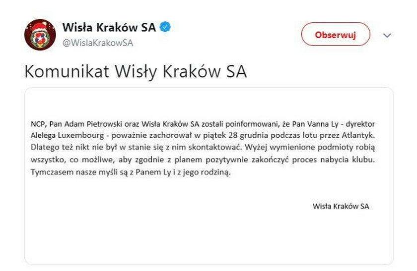Kuriozalne oświadczenie Wisły Kraków