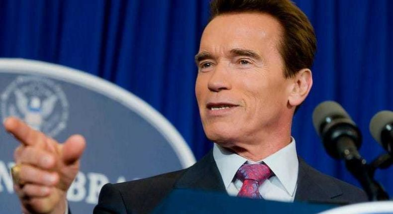 Former California Governor Arnold Schwarzenegger holds a news conference before the GOP debate at the Ronald Reagan Presidential Library on Wednesday, January 30, 2008, in Simi Valley, California.
