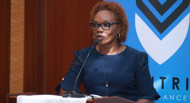 Centric Air Ambulance COO Betty Omune giving her remarks during the during the Centric Business to Business launch held at the Serena Hotel in Nairobi on the 26th of March 2019.