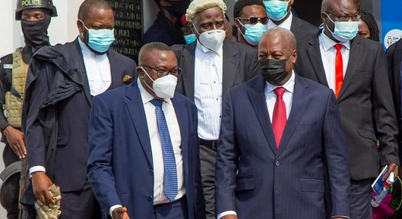 John Mahama and some NDC officials at the Supreme Court
