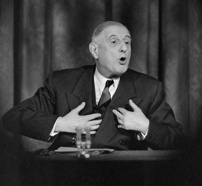 Charles De Gaulle Gesturing While Speaking at Press Conference
