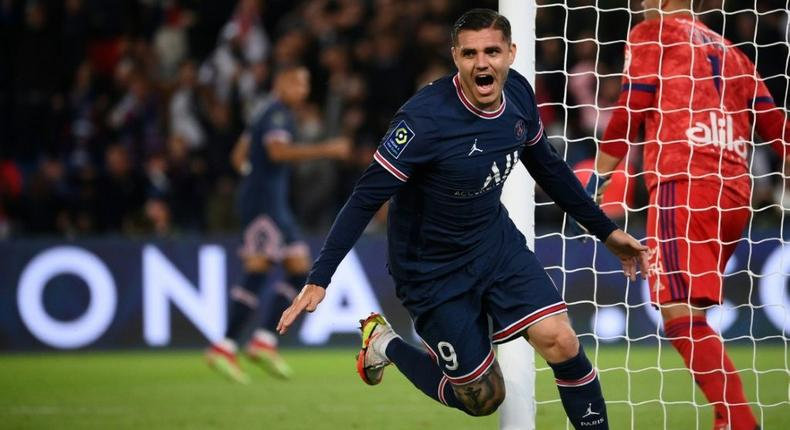 Mauro Icardi celebrates after scoring PSG's late winner against Lyon Creator: FRANCK FIFE