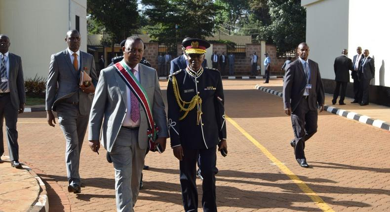 DCI boss George Kinoti with IG Joseph Boinnet at the DCI headquarters (Twitter)