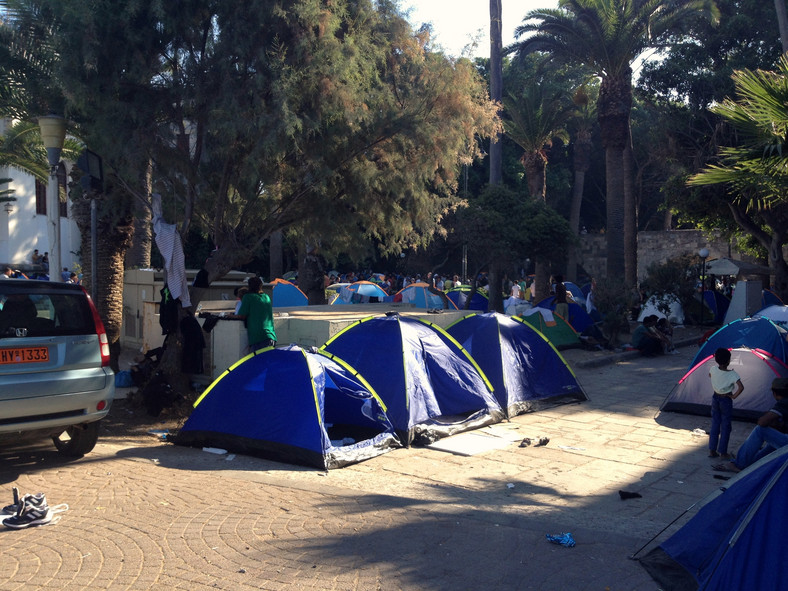 Uchodźcy w porcie w Kos