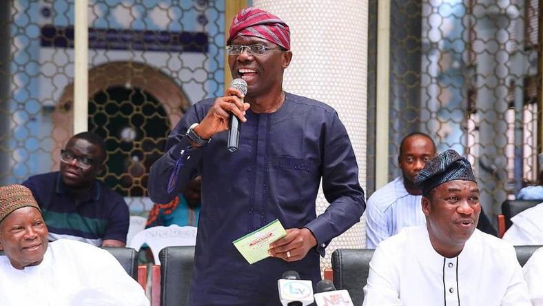 Sanwo-Olu and his running mate Obafemi Hamzat at a function (Pulse)