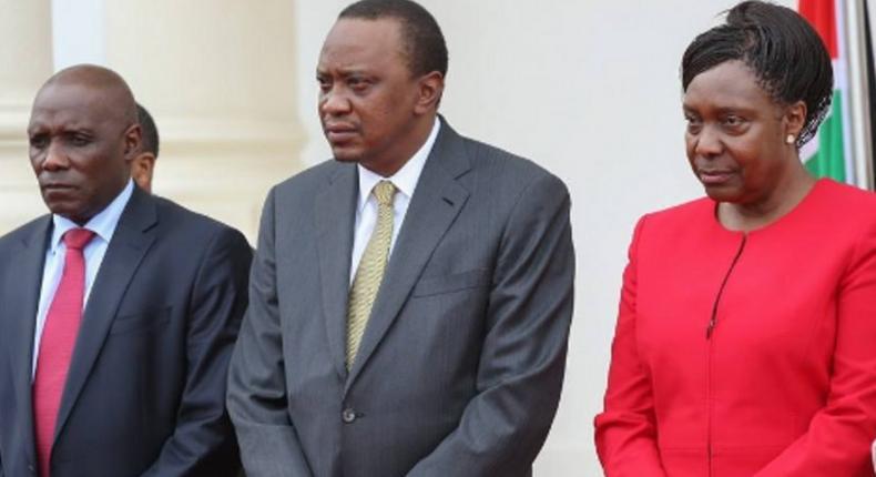 NLC chair Muhammad Swazuri, President Uhuru Kenyatta and Lands CS Charity Ngilu