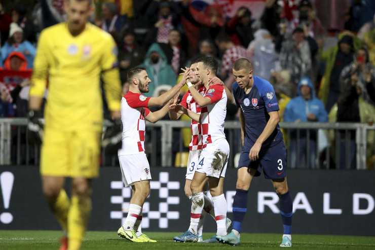 Fudbalska reprezentacija Hrvatske na utakmici protiv Slovačke