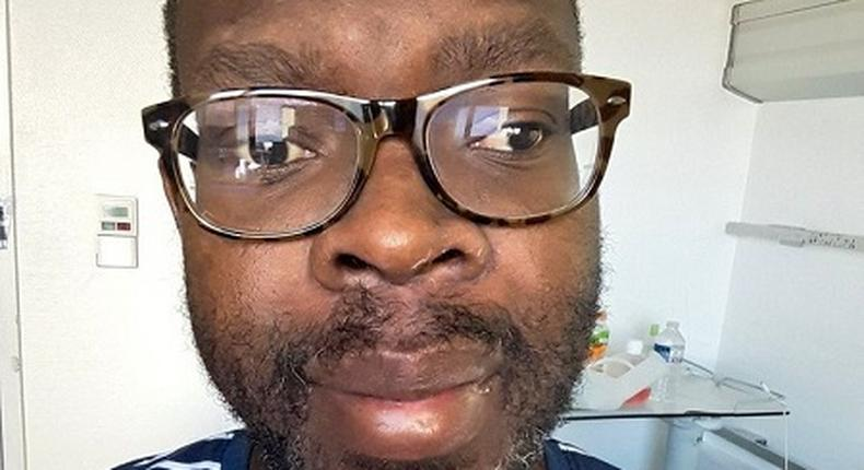 Photo shared by Kibra MP Ken Okoth after undergoing treatment for Colorectal Cancer (Twitter)
