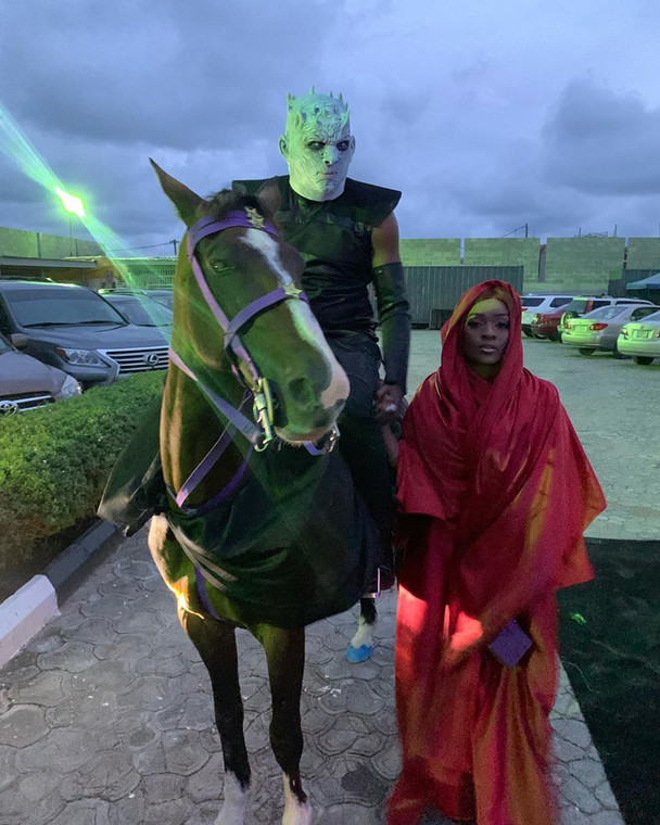 Bovi and his wife at IK Osakiduwa's 'GOT' themed party [Instagram/OfficialBovi]
