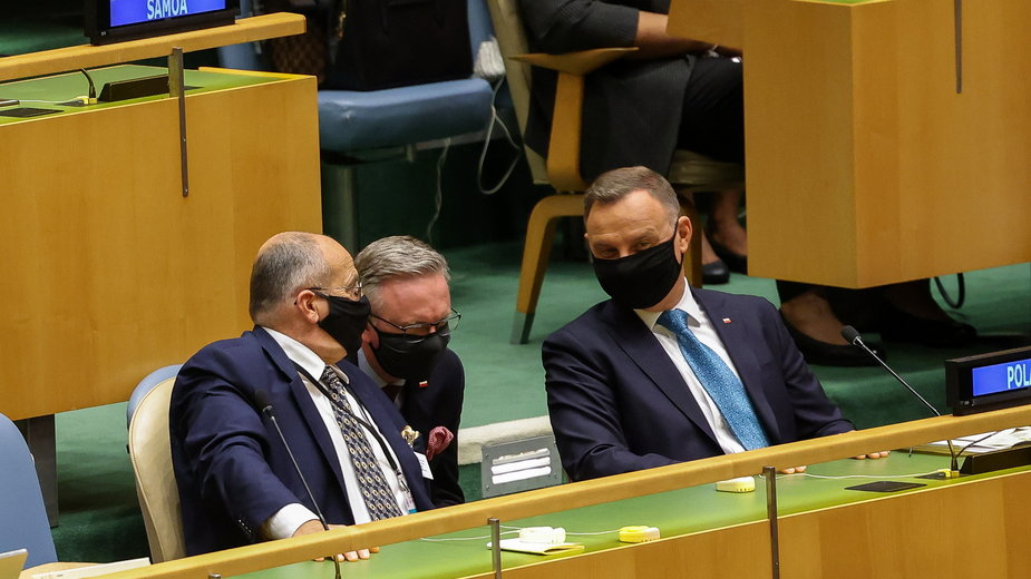 Sesja Zgromadzenia Ogólnego ONZ. Na zdjęciu od lewej: Zbigniew Rau, Krzysztof Szczerski i Andrzej Duda
