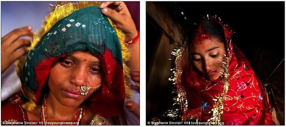 Sumena Šrešta Balami (desno, 15) napušta kuću da bi se srela s mladoženjom Prakašom Balamijem (16) u selu Kagati u Nepalu. Sarita (levo, 15) u suzama i znoju uoči odlaska u novi dom u Radžastanu, Indija