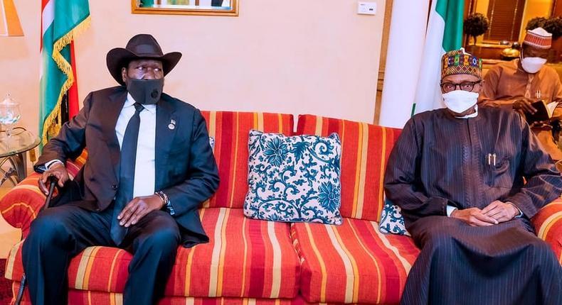 President Muhammadu Buhari (right) with President Salva Kiir of South Sudan (left) [Presidency]