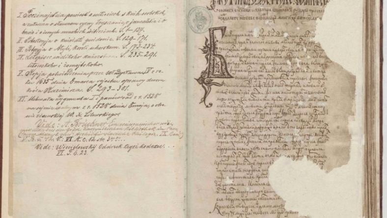 Rękopis ze zbiorów Biblioteki Raczyńskich