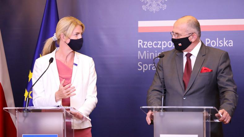 Minister spraw zagranicznych RP Zbigniew Rau i minister spraw zagranicznych Republiki Estońskiej Eva-Maria Liimets