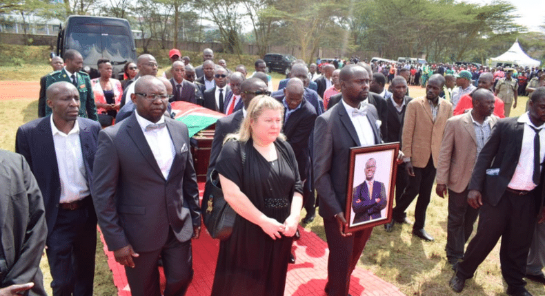 Kibra MP Ken Okoth;'s body when it arrived at Moi Girls High School for a funeral service