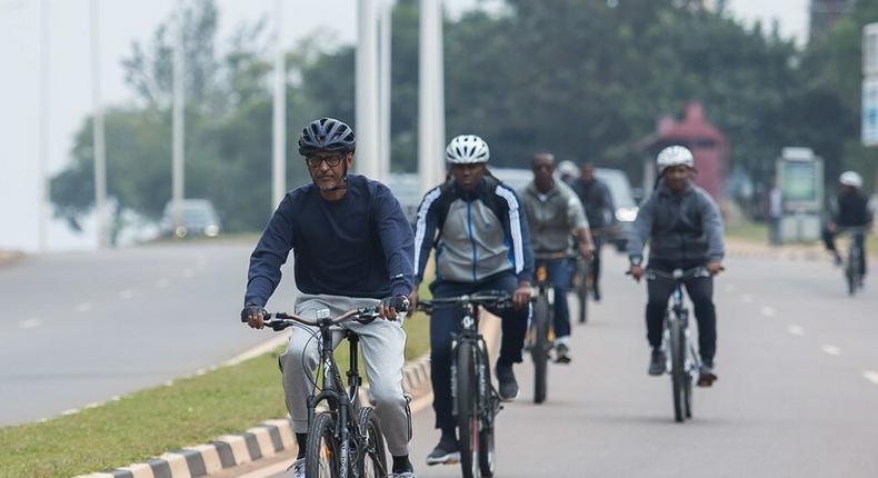 Rwanda's President Paul Kagame taking part in the Kigali's car-free days. (UMUSEKE)