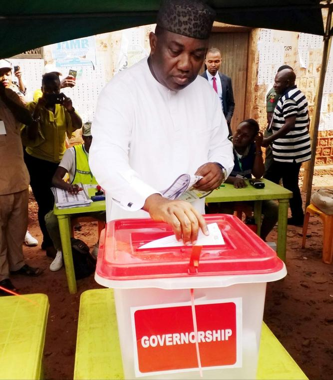 Ifeanyi Ugwuanyi votes at his polling unit