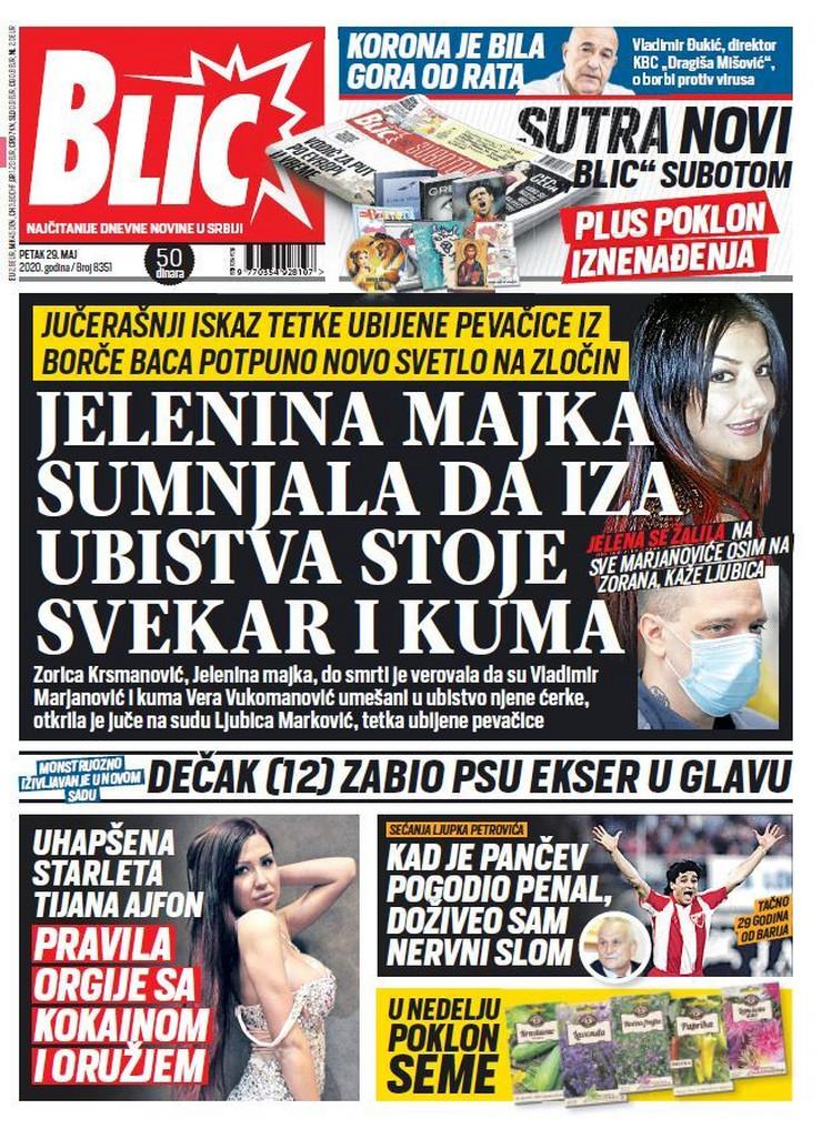 Blic, naslovna za 29.05.2020.