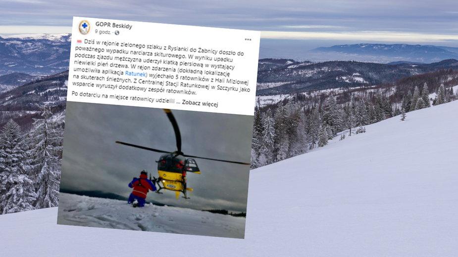 Groźny wypadek skiturowca