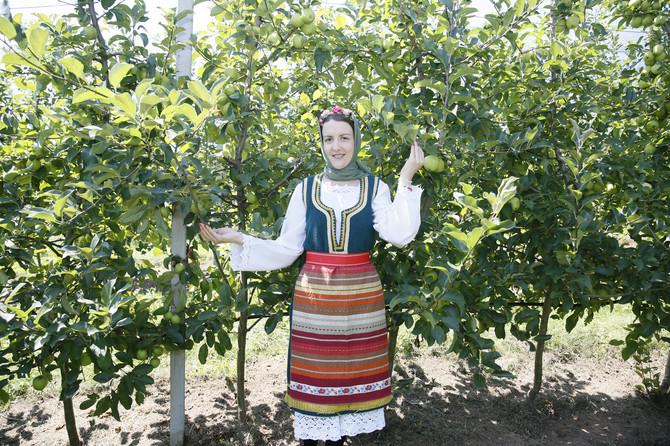 U nošnji Ponišavlja Miljana s ponosom pokazuje plodove zlatnog delišesa
