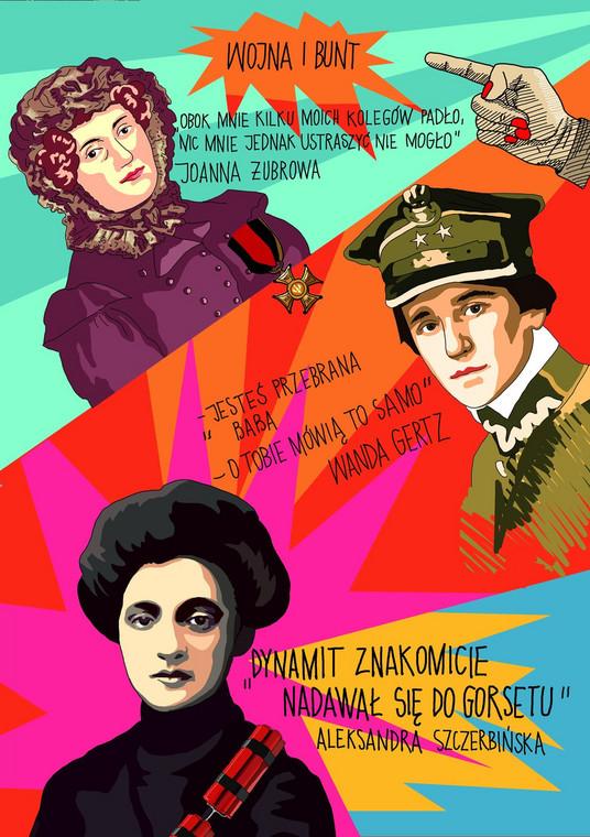 """ilustracje Marty Frej do książki Anny Kowalczyk """"Brakująca połowa dziejów"""""""