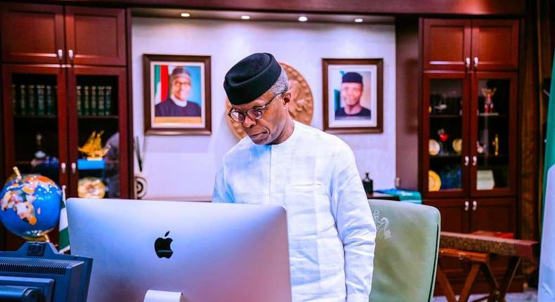 Vice President Yemi Osinbajo SAN virtually presides over the National Economic Council Meeting in the State House, Abuja. 21st January 2021. [Twitter/Tolani Alli]