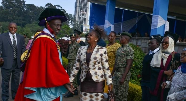 DP William Ruto with his wife Rachel after he graduated with a PhD at Nairobi University (twitter)
