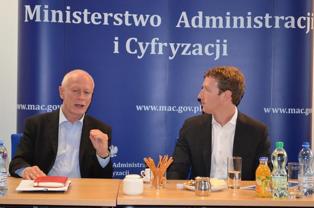 Minister Michał Boni i Mark Zuckerberg