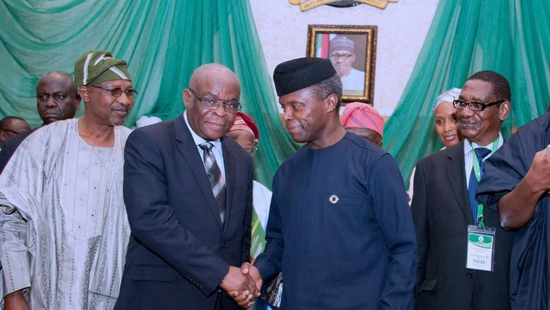 Acting President, Yemi Osinbajo and suspended Chief Justice of Nigeria (CJN), Justice Walter Onnoghen.