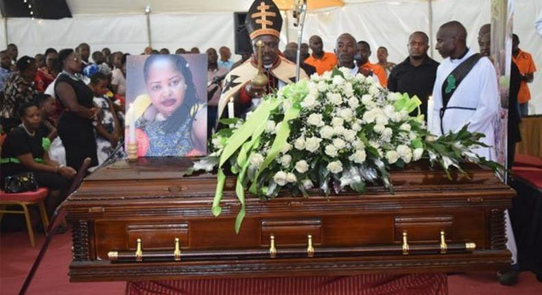 Joseph Kori attends the burial of his wife Mary Wambui who was allegedly murdered by his mistress