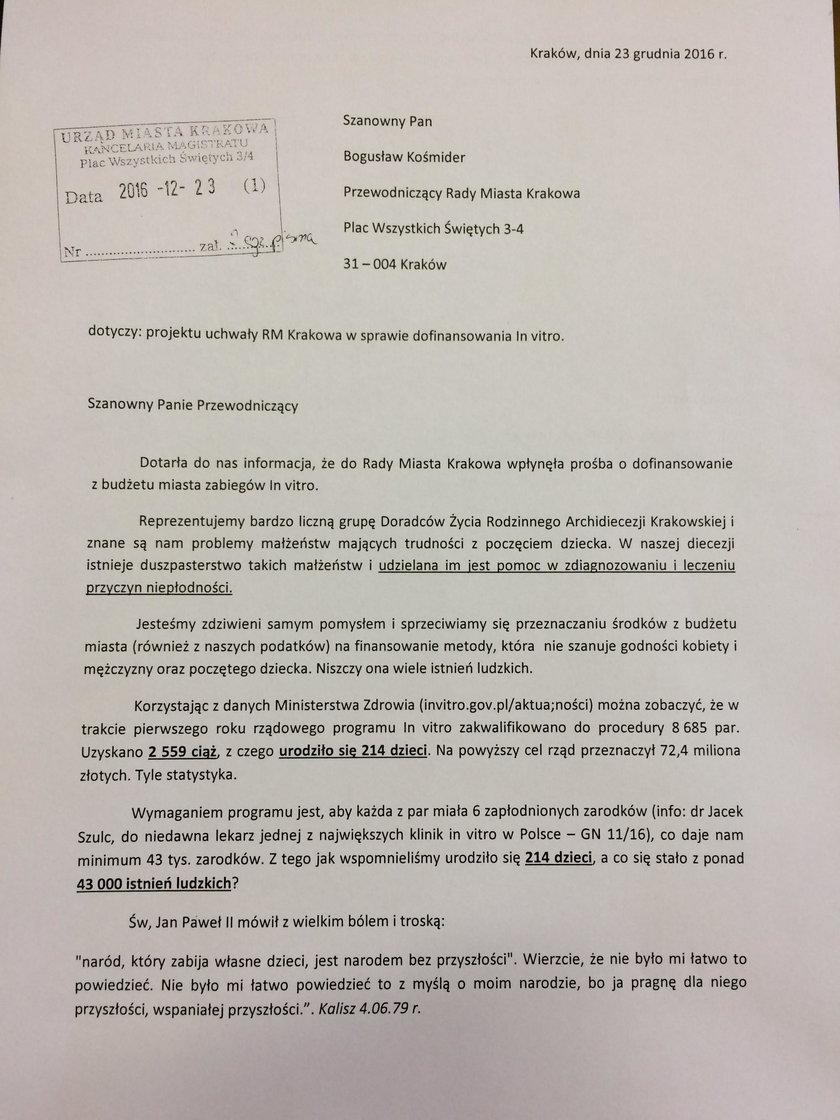 List archidiecezji krakowskiej w sprawie dofinansowania in vitro w Krakowie