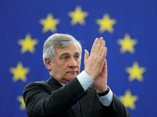 Newly elected European Parliament President Antonio Tajani reacts after the announcement of the resu