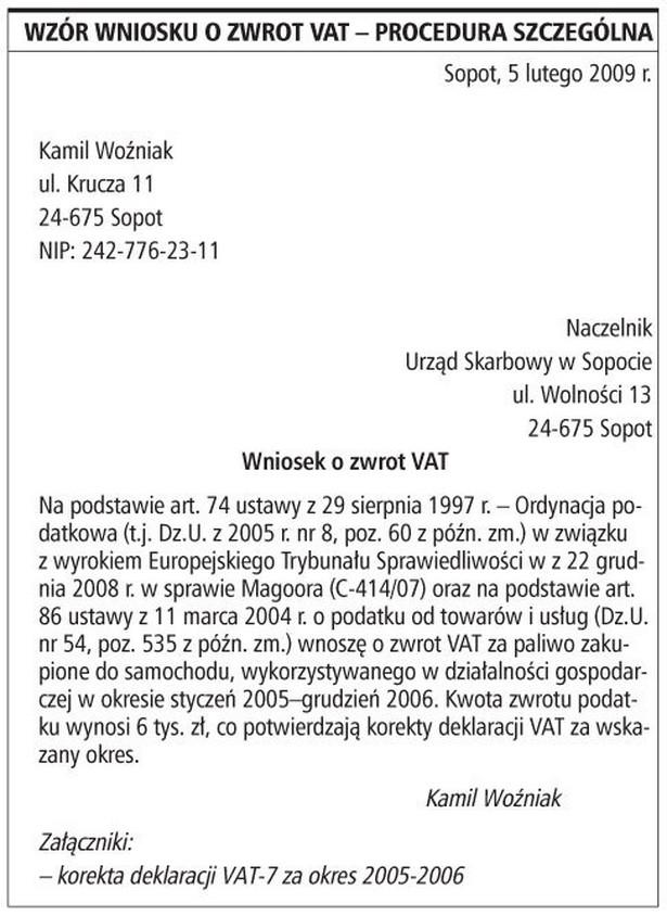 Wzór wniosku o zwrot VAT - procedura szczególna