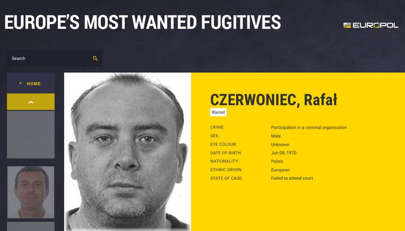 Poszukiwany Rafał Czerwoniec, fot. eumostwanted.eu