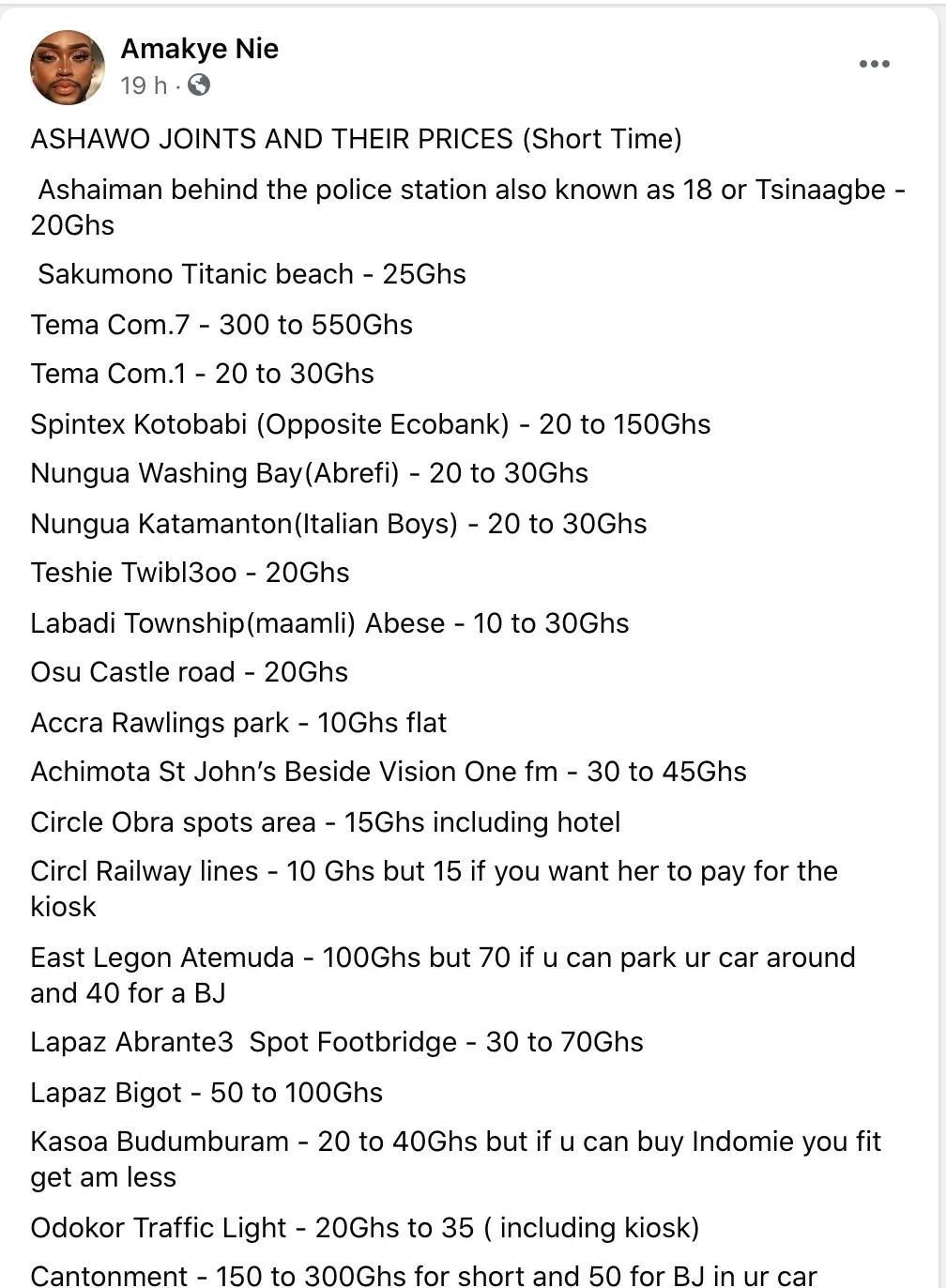 Phone ghana numbers ashawo List of