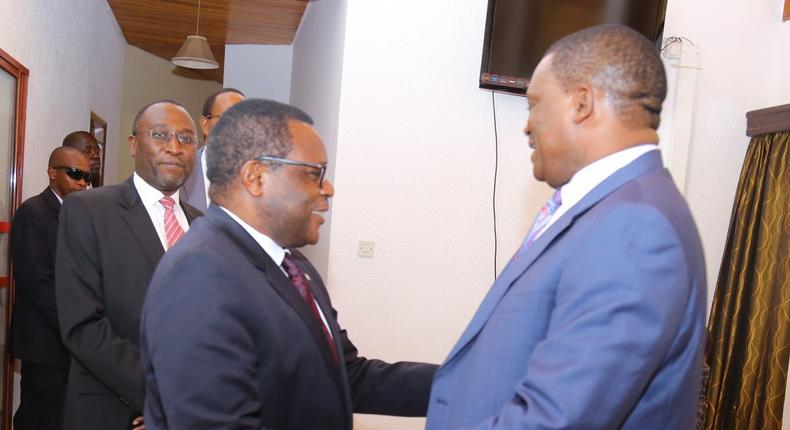 Senate Speaker Ken Lusaka with National Assembly Speaker Justin Muturi after they signed document to establish East African Parliamentary Institute (Twitter)