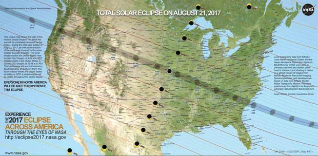 Mapa zaćmienia 2017