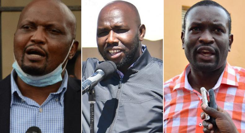 Gatundu South MP Moses Kuria, Elgeyo Marakwet Senator Kipchumba Murkomen and ODM Secretary-General Edwin Sifuna