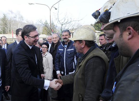 Vučić sa rudarima