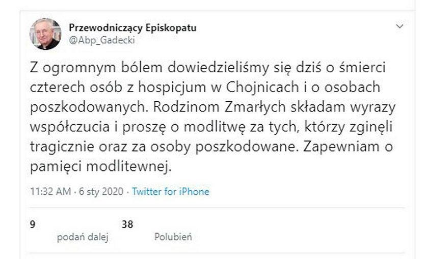 Tragedia w hospicjum w Chojnicach. Abp Gądecki zabrał głos
