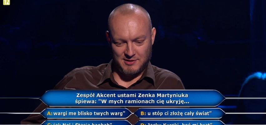 """""""Milionerzy"""" - co śpiewał Zenek Martyniuk? Uczestnik musiał się zastanowić!"""