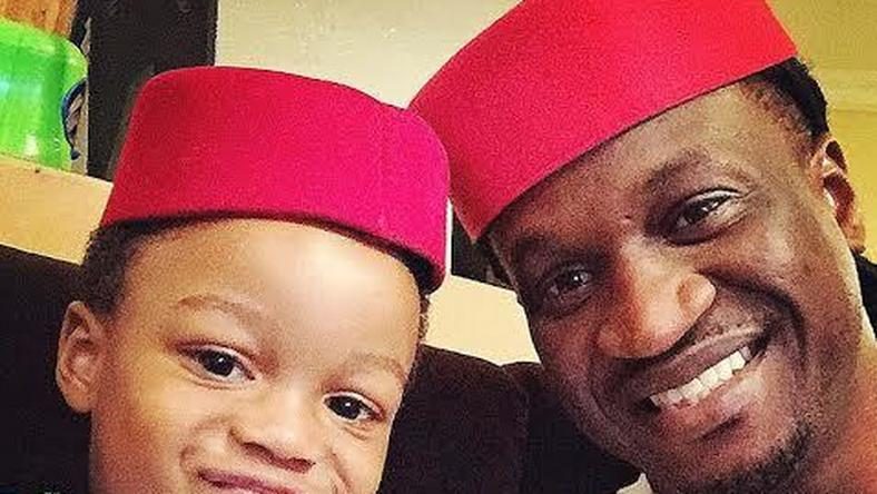 Paul Okoye and his son, Andre, whom he refers to as his Hero