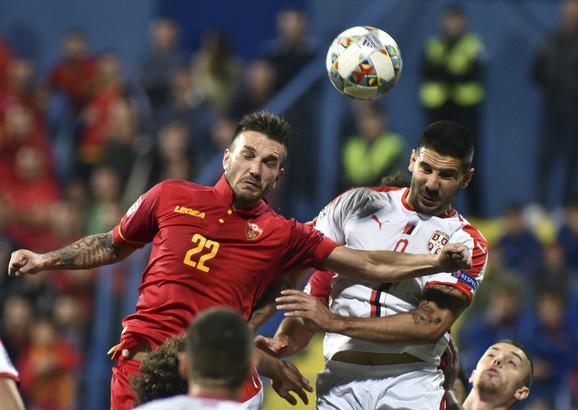 Detalj sa meča Crne Gore i Srbije u Ligi nacija