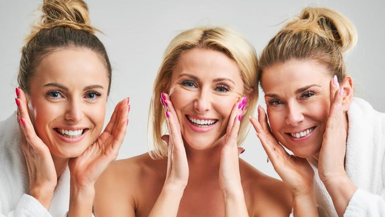 Uśmiechnięte kobiety. Ćwiczenia twarzy.